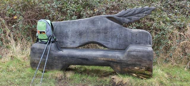 b09 Colin Vyvyan's bench, Ruth walking in Wales