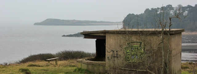 b11 Pillbox at Bull Bay, Ruth walking the Wales Coast