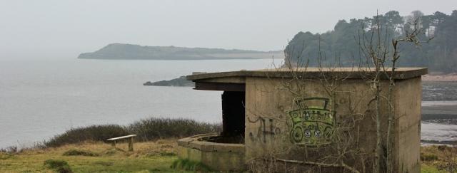 b11 Pillbox at Bull Bay, Ruth walking the Wales Coast