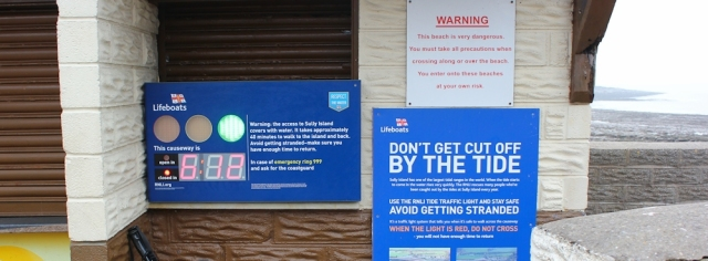 b15 warning signs, Sully Island, Ruth on the Welsh coast