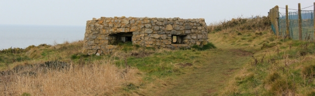 first pill box, Ruth on the Wales Coast Path