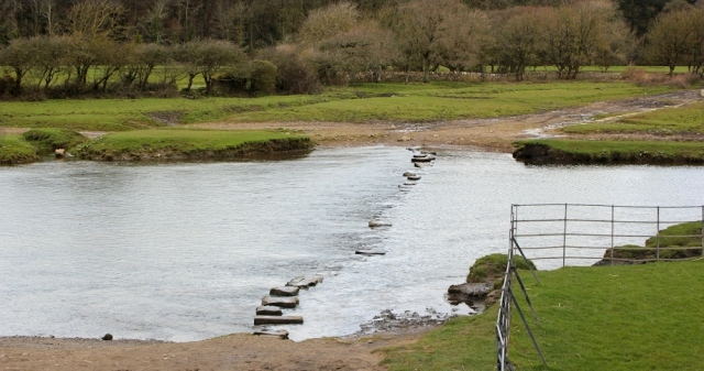stepping stones, Ogmore Castle, Ruth walking the Wales Coast Path