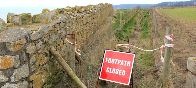 footpath closed sign, Ruth's coastal walk in Wales