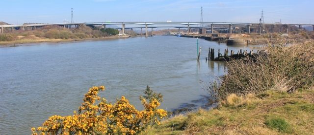 08 M4 and A48 bridges, River Neath, Ruth walking the Wales Coast Path
