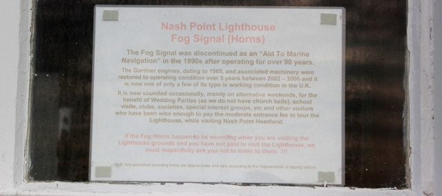 fog horn sign, Nash Point, Ruth's coastal walk in Wales