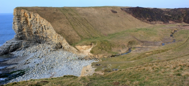 Nash Point and Marcross Brook, Ruth walking the Welsh coast