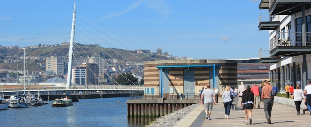 20 Swansea Marina, Ruth on her coastal walk
