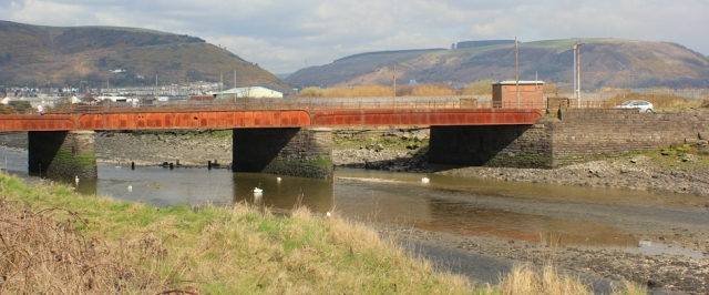 21 bridge over River Avan, Ruth walking into Port Talbot