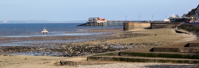 Mumbles Pier, Ruth walking the Wales Coast Path