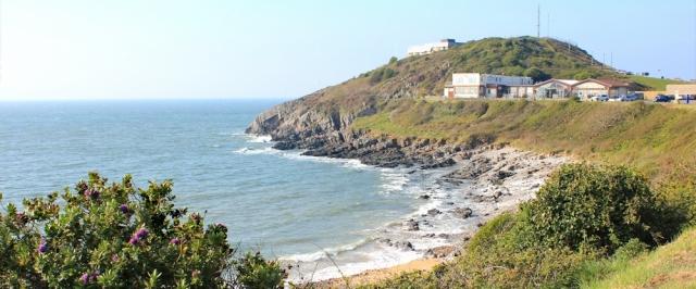 Coastguard station, Bracelet Bay, Ruth walking the Welsh coast