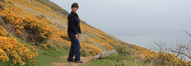 Ruth Livingstone, self portrait on Oxwich Point, Gower Peninsula