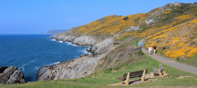Snaple Point, Langland, Ruth walking the coast path in Gower