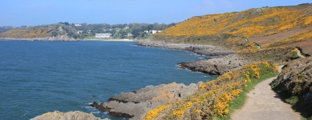 Caswell Bay, Ruth walking the Wales Coast Path, Gower