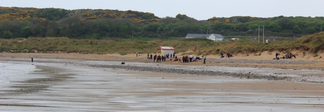 young people on beach, Port-Eynon Bay, Ruth's coastal walk