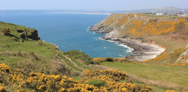 Deep Slade, looking over to West Cliff, Ruth on the Wales Coast Path