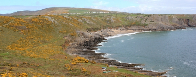 17 Fall Bay and Mewslade Bay, Ruth walking the Wales Coast Path, Gower