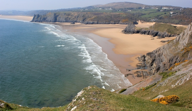 Three Cliffs Bay, Pennard, Gower, Ruth on the Wales Coast Path