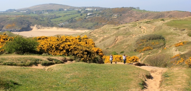 Pennard Burrows, Ruth walking through Gower, Wales