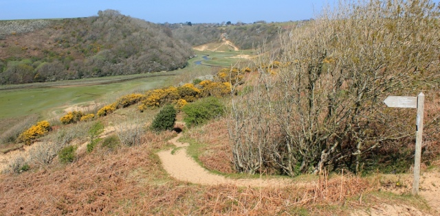 down to Pennard Pill, Ruth walking the Wales Coast, Gower