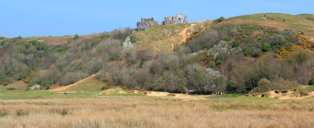 Pennard Castle, Ruth on the Wales Coast Path