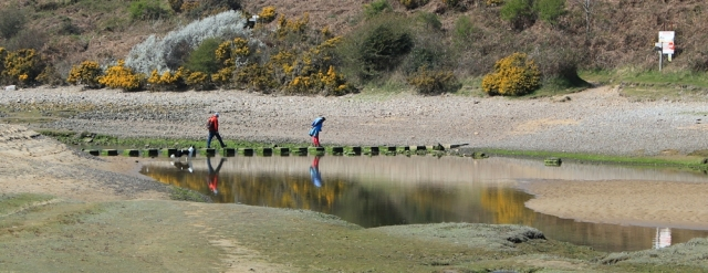 stepping stones across Pennard Pill, Ruth walking in Gower