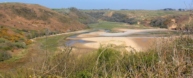 Pennard Pill valley, Ruth walking the Wales Coast Path, Gower