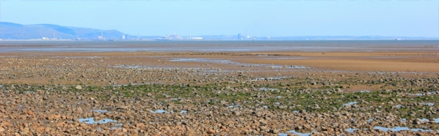 Ruth walking through Swansea Bay, Port Talbot in the distance