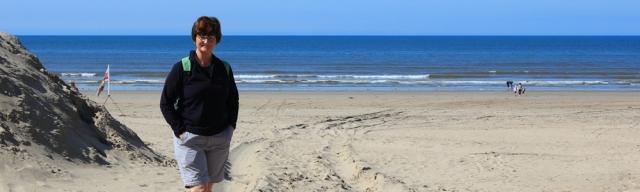 01 Ruth on beach at Pembrey, Wales Coast Path