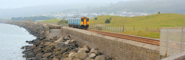 05 train line, Llanelli coast, Ruth hiking in Wales