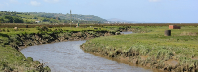 view across marshes to Pen-clawdd and Gower, Ruth hiking