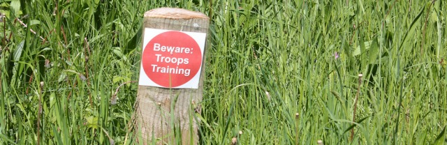 12 troops training sign, Ruth in Pembrey Country Park