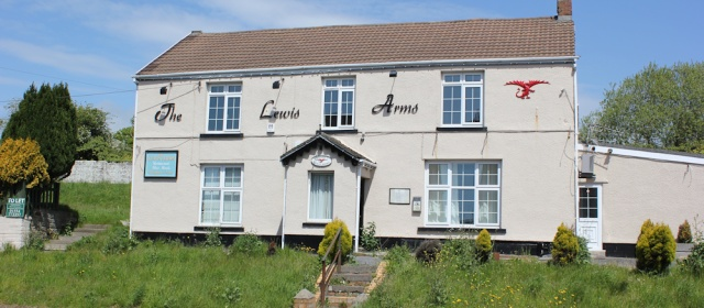 another closed pub - The Lewis Arms, Ruth walking the Welsh Coast