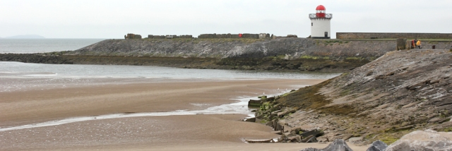 18 pier and lighthouse at Burry Port, Ruth walking the Wales Coast Path
