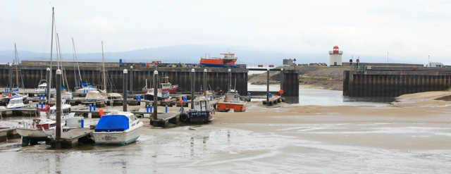 a02 tide out, Burry Port, Ruth walking the Wales Coast Path