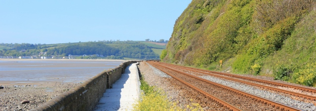 a12 over railway, St Ishamel's Scar, Ruth walking up River Towy