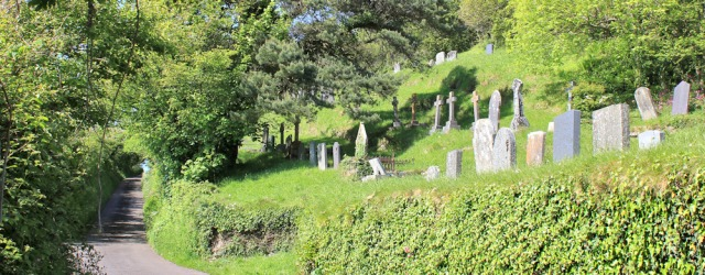 a13 graveyard on hillside, Ruth hiking to Ferryside, Wales