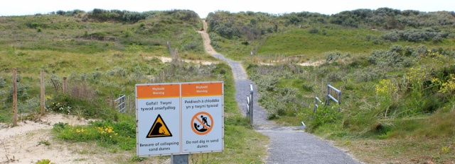 a15 collapsing dune sign, Pembrey Country Park, Ruth's coastal walk