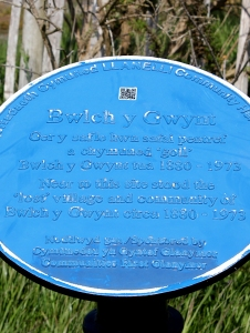 lost village Bwlch y Gwynt plaque, Ruth's coastal walk