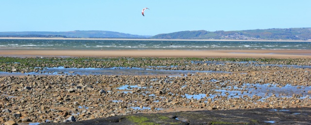 kitesurfer, Broughton Bay, Llangennith, Ruth's coastal walk around Gower
