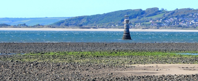 x07 iron lighthouse, Ruth on Whiteford Point, walking the coast of Gower, Wales