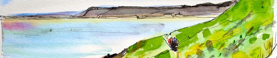 Ruth Livingstone walking to Manorbier, painting by Tim Baynes