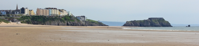 03 looking back to Tenby, Ruth on South Beach, Wales Coast Path
