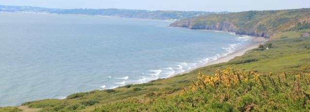 Marros Sands, Ruth walking towards Amroth, Wales Coast Path