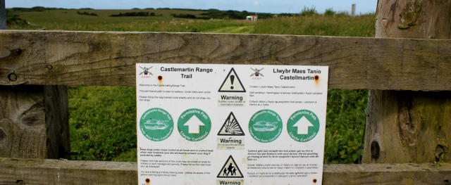 04 sign, Castlemartin Artillery Range, Ruth walking the coast in Wales