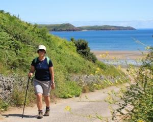 self-portrait, Freshwater East, Ruth walking the Wales Coast Path