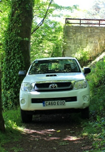 truck on path, Ruth hiking Laugharne
