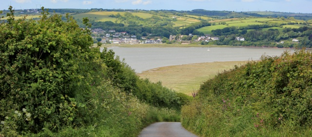 15 over River Taf to Laugharne, Ruth walking the coast in Wales