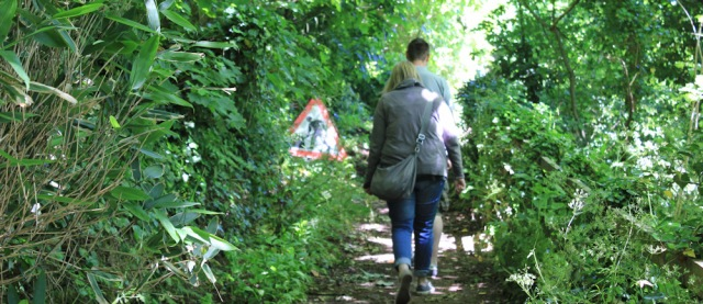 walkers on path, Ruth hiking to Laugharne