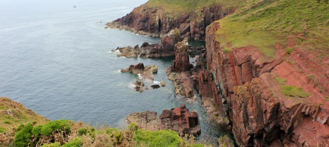 16 red sandstone cliffs, Manorbier, Ruth on the Pembrokeshire Coast Path