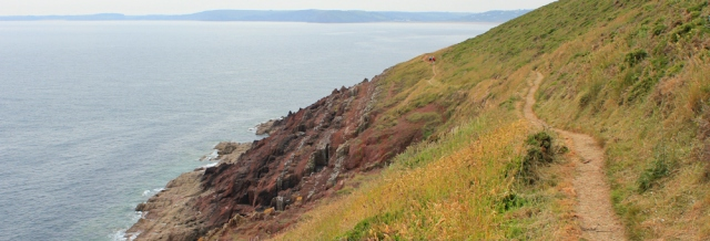 17 path along cliffs, Ruth walking to Manorbier, Wales Coast Path